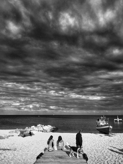 Sea Lovers - Monochromatic Surreal Touch Gdynia 30 May 2015 IPhoneography Iphone 6 Plus IPSShadows EyeEm Bnw Dramatic Epic Dramatic Sky EyeEm Best Shots EyeEm Best Edits The Great Outdoors - 2015 EyeEm Awards