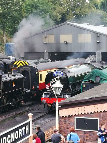 Transportation Mode Of Transport Land Vehicle Motion Men Smoke - Physical Structure On The Move Road Day Outdoors City Life Person Rush Hour Flying Scotsman Bridgnorth Shropshire Steam Trains Severn Valley Railway