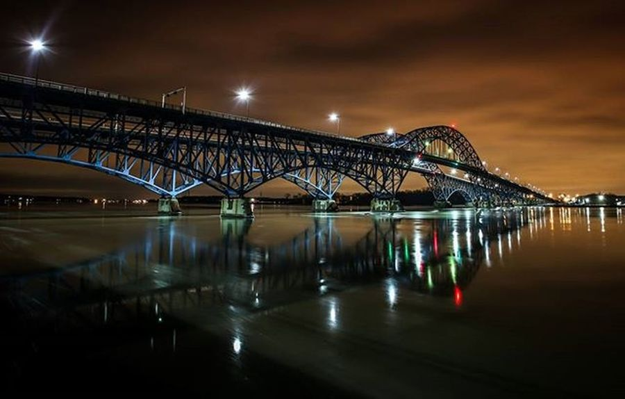 Flashback: This photo of the South Grand Island Bridge was a winner in a contest and featured in the 2013 ASCE Bridge Calendar. Glad to be able to post it without the crop now on @instagram Grandisland Buffalo Buffalony Buffalove Onebuffalo Longexposure Architecture Water Iceflow Nightphotography Wny WNYwater