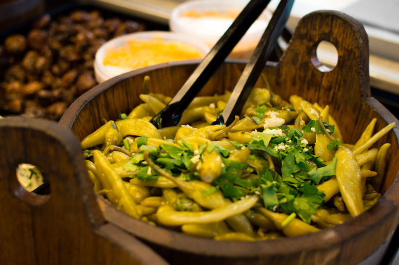 Close-Up Of Food In Wooden Bowl
