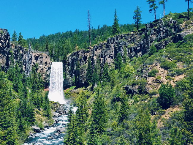 Tumalo Falls Waterfall Oregon Central Oregon Water Trees Blue Sky