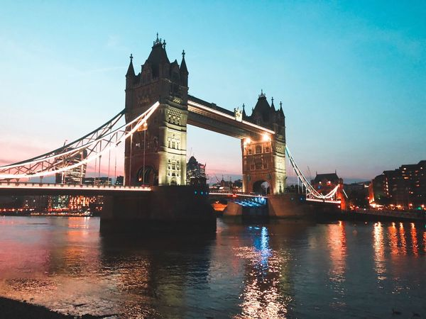 Tower Bridge  Twilight Built Structure Architecture Building Exterior Water City Sky Travel Destinations Bridge River Bridge - Man Made Structure Reflection Waterfront Cityscape