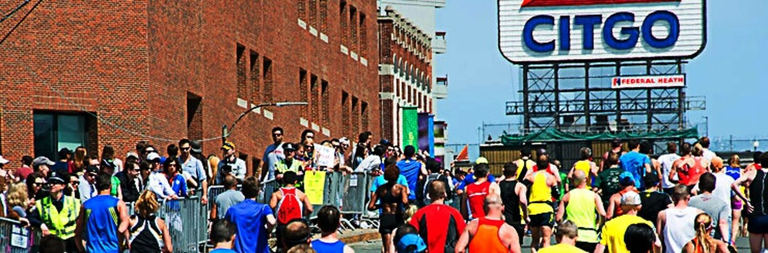 today's runners approaching the iconic Citgo sign near Kenmore! Boston Marathon Street Photography Eye4photography