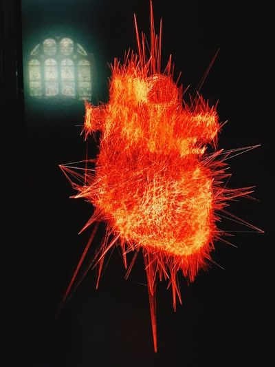 Light Creativity Church Red Color Heart Beat Contemporary Artwork Black Background Exploding Celebration Close-up EyeEmNewHere