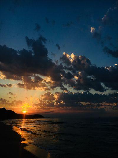 Sky Sunset Water Beauty In Nature Scenics - Nature Sea Cloud - Sky Tranquility Idyllic Tranquil Scene Horizon Nature Orange Color Horizon Over Water