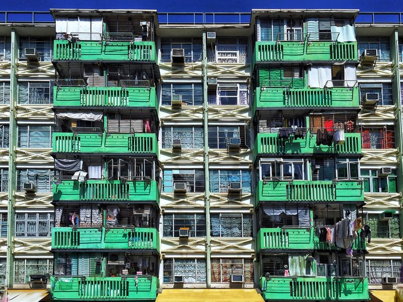 Geometric Shape Symmetry Residential Building Colorful Lines And Shapes Lines And Angles HongKong Pattern, Texture, Shape And Form Architecture