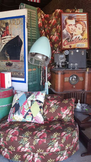 Abundance Antique Arrangement Beauty Shop Old Hair Drye Casablanca Poster Choice Close-up Collection Design Display Flowered Chair Full Frame Large Group Of Objects Multi Colored No People Old Time Radio Post War Hair Salon Equipment Retail  Shelf Shop Still Life Store Textile Variation