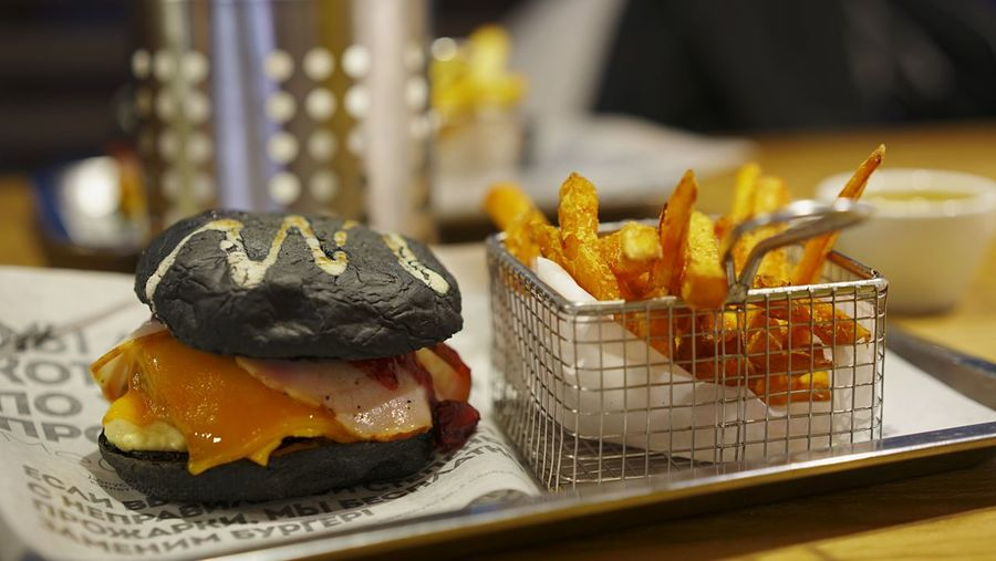 Burger and fries Food And Drink Food Ready-to-eat Freshness Focus On Foreground No People Close-up Temptation Prepared Potato Dessert Healthy Eating Sweet Potato Serving Size Indoors  Fried Indulgence Sweet Food Container Still Life