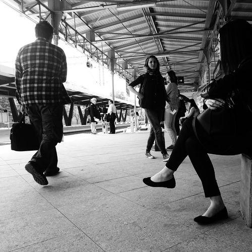 Waiting for a trainThe Photojournalist - 2015 EyeEm Awards Railwaystation Streetphoto_bw Streetphotography