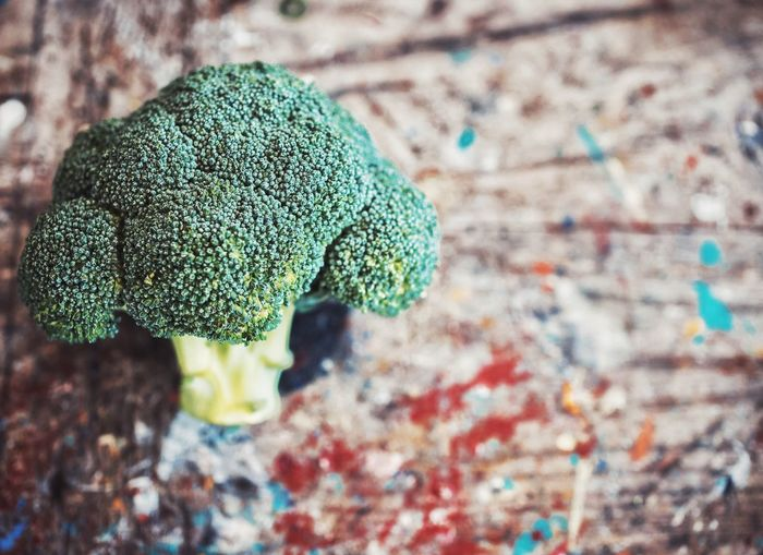 Close-up of broccoli on table