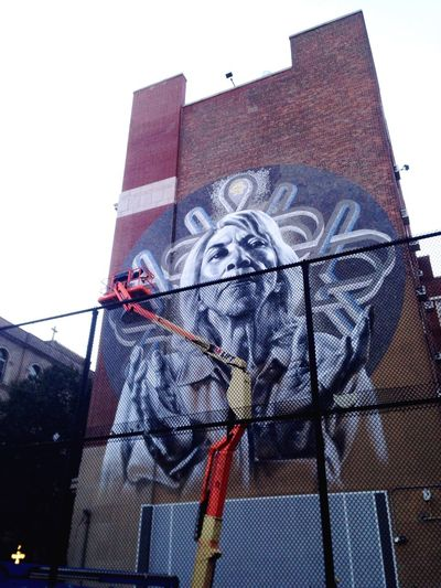 Artist at work. El Mac Street Art Mural Monumentartnyc El Barrio Capture The Moment