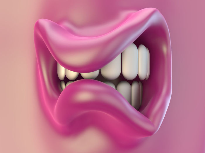 mouth, lips in pink and teeth looking angry 3D 3d Rendering Angry Lips Looking Angry Mouth Peeved Pink Angry Face Annoyed Mouth Open Part Of Face Pink Color Pink Colour Rendering Skin Teeth Tooth