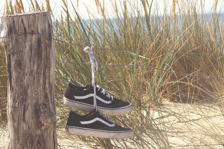 Close-up of shoes on wooden post in field
