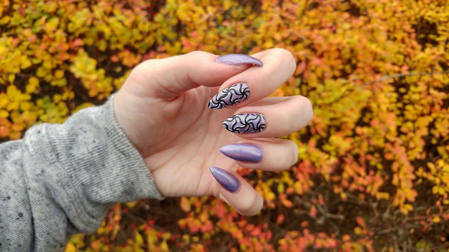 Close-Up Of Woman Showing Nail Polish Against Autumn Leaves
