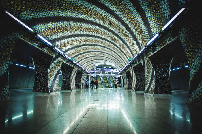 Architecture Modern Illuminated Travel Platform Greenline No People Green Lights Pretty Lights Long Exposure Train Budapest Metro Budapest Metro Train Metro Photo Metro Station Metro Underground Lighting Equipment Circles Mosaic Floor Mosaic Mosaics
