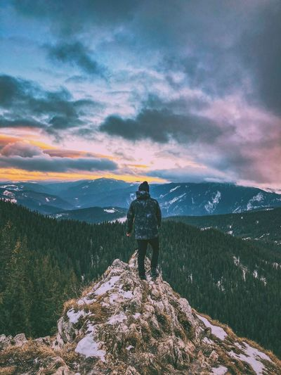 Bucovina Romania Mountain Hiking Adventure Beauty In Nature Nature Backpack Rear View Real People Sky Cloud - Sky Standing Full Length Lifestyles Men Leisure Activity Scenics Tranquility Sunset One Person Mountain Range An Eye For Travel Capture Tomorrow