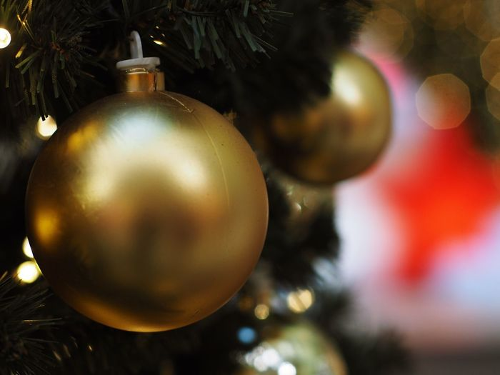 Christmas Christmas Decoration Holiday Christmas Ornament christmas tree Celebration Decoration Hanging Tree Holiday - Event Close-up No People Indoors  Celebration Event Event Sphere Gold Colored Focus On Foreground Ornate Silver Colored