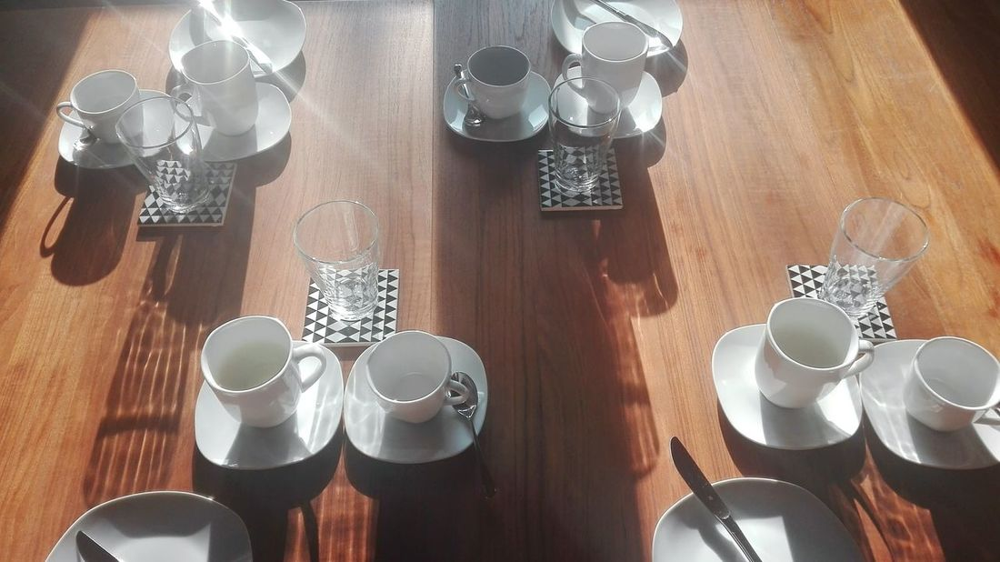 Beautifully Organized Coffee - Drink Silver - Metal High Angle View Drink Metal Indoors  No People Illuminated Close-up Day Sunshine Coffee Time Lunch Cafexperiment Visual Feast