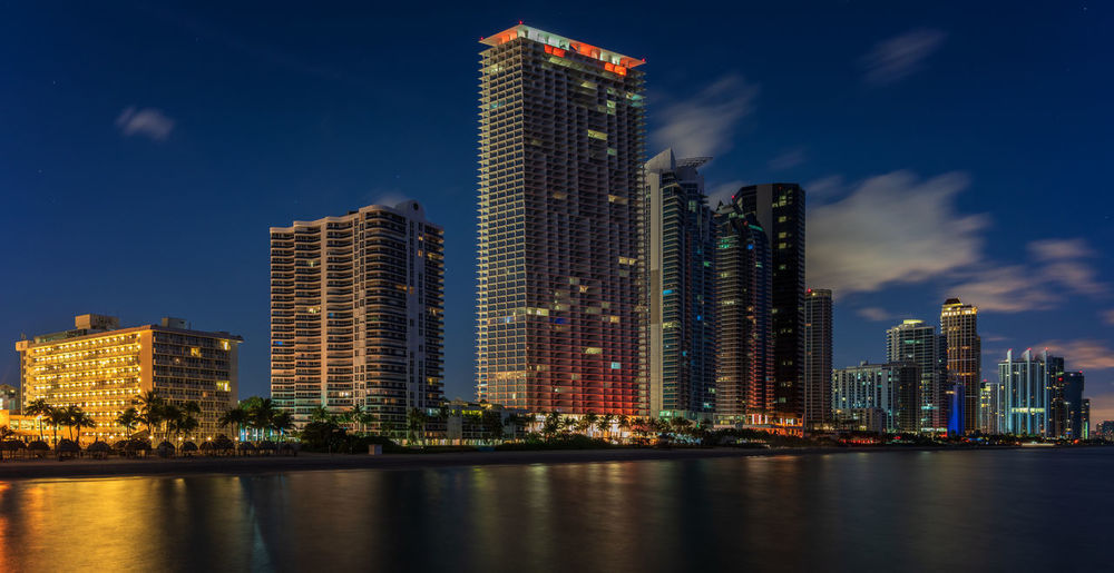 North beach, Miami beach Building Exterior Architecture Built Structure City Building Sky Water Skyscraper Waterfront Illuminated Reflection Residential District Urban Skyline No People Apartment Modern Tall - High Sea Sea Front Beach Miami Beach Miami Florida Night Long Exposure