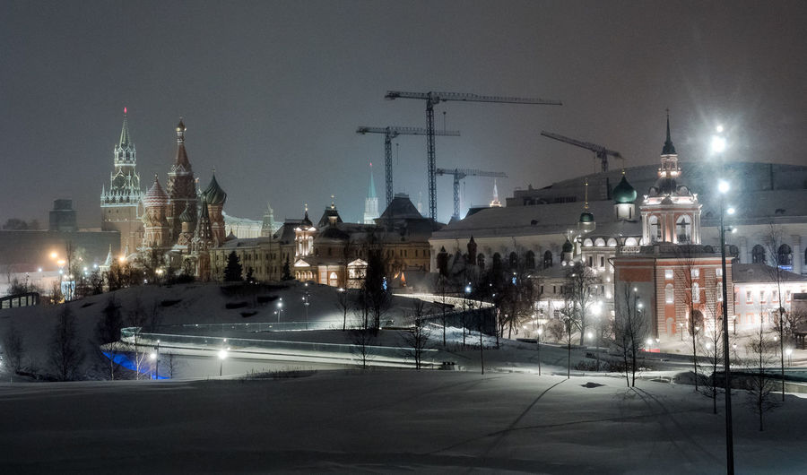 Russia, Moscow, the Kremlin, the Nikolskaya street, night, snow, Vasilevsky descent, the Kremlin's Spassky tower, St. Basil's Cathedral, Monument to Minin and Pozharsky on red square, Manezhnaya square, Ulitsa Varvarka, Zaryadye Park , winter, travel, architecture Moscow Night Lights Russia Vasilevsky Descent Architecture Building Exterior Built Structure City Cityscape Clear Sky Illuminated Long Exposure Night No People Outdoors Place Of Worship Sky Snow Snowing Street Light The Kremlin