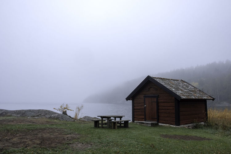 shed with fog