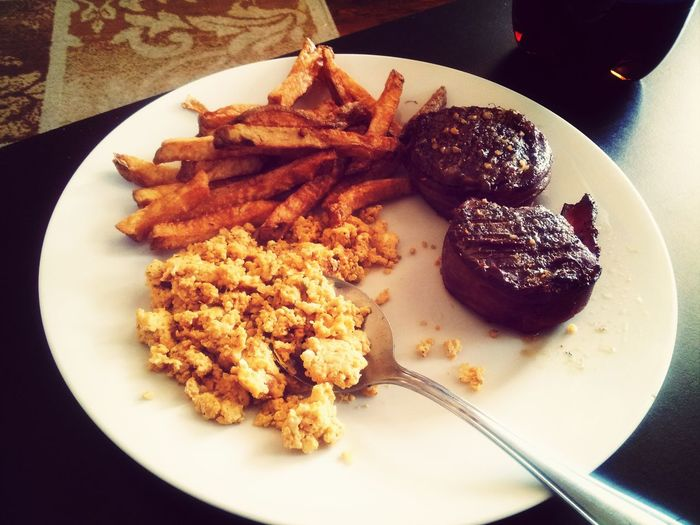 homemade French fries, bacon wrapped filet mignon and eggs... mmmm!! DisHowIDo