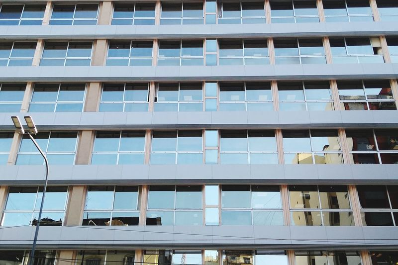 Rows of windows in modern building