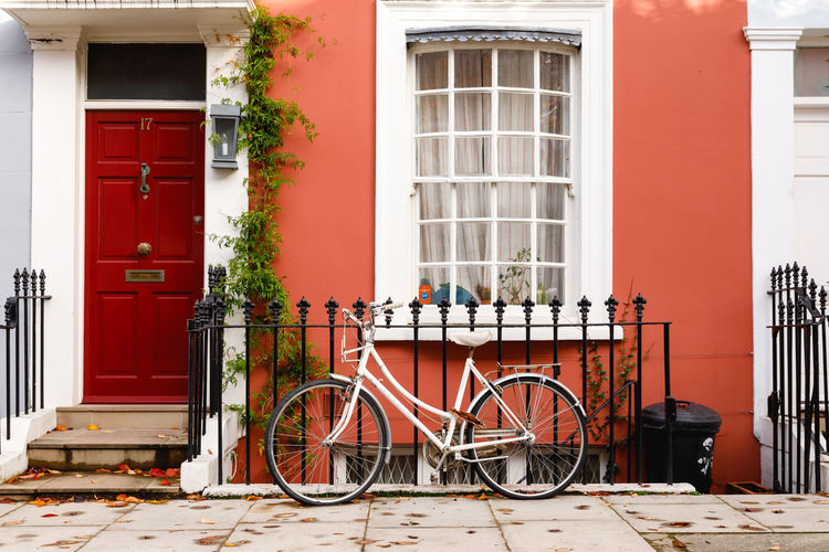 Autumn in London Bicycle Architecture Building Exterior Built Structure Land Vehicle Building Window Mode Of Transportation Transportation No People Red Stationary Day House City Door Residential District Railing Outdoors Entrance Row House London Autumn Bike Mode Of Transport Autumn Mood British Culture