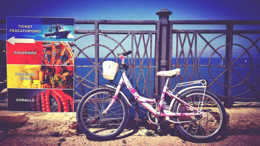 Little Tourist Bike Girl 😁 Little Girl Bike Tourism Tourist Tranquility Taking Photos HuaweiP9 Travel Photography Travel RelaxingHello World Cheese! Traveling Transportation Tourist Attraction  Sea Sea And Sky Sea View Mediterranean Sea No People Sicily Sicily, Italy Pink Color