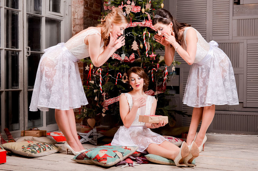 Dance Dress Gift Gifts Girls Happy New Year New Year Red Spruce Spruce Tree Taking Photos White White Dress