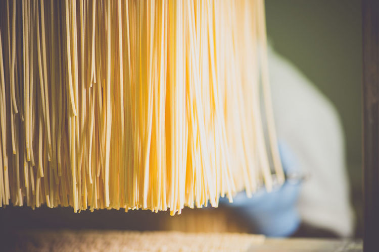 Close-Up Of Spaghetti In Factory