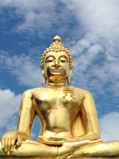 The Color Of School Statue Human Representation Religion Spirituality Sculpture Low Angle View Buddha Gold Colored Cloud Sky Place Of Worship Idol Blue Day Cloud - Sky Outdoors Majestic Famous Place Fresh On Eyeem