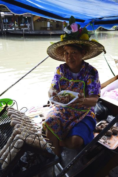 Dec 16 Water Hat One Person Tradition Occupation Portrait People Outdoors Adult Close-up Day Food Meat Shop Boat Travel Pattaya Thailand Floating Market Travel Destinations Nikon D3200 Nikonphotography Pattaya Thailand Traveling Wanderlust Sausage An Eye For Travel