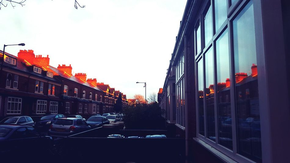 Golden Light My Street Reflection Terraced Houses Rows Of Things Chimney Pots