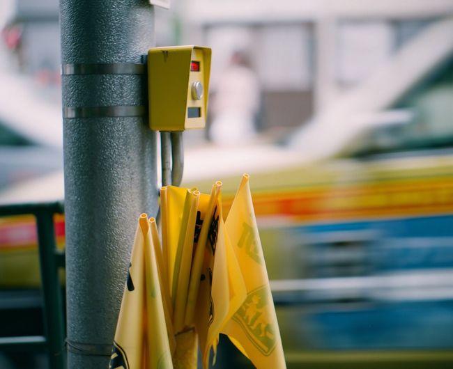 Close up of pole on street