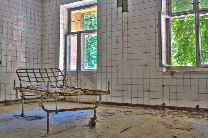Somehow creepy but also peaceful at the same time // Abandoned Abandoned Places Absence Bed Built Structure Closed Creepy Day Deterioration Empty Hospital Hospital Bed House Lostplaces Old Open Run-down Tile Window Window View Windows