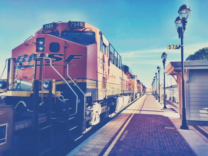 """Big Train To Needles"" A BNSF multi engine train pulls up at the Needles, California, USA, train station. Transportation Railroad Track Rail Transportation Train Train Station Train Tracks Trainphotography Trainengine Railroad Railroad Station Railroad Track Railroad Station Platform Travel"