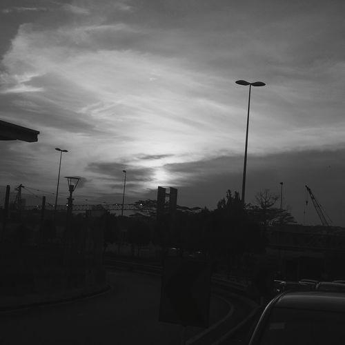 Parting glance. Sunset Johor Bahru Johor Malaysia Border Crossing Causeway WoodLand The Places I've Been Bw