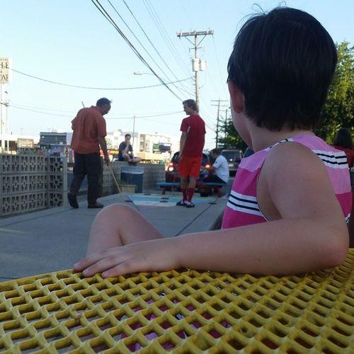 Thelilian watching shuffleboard. (: