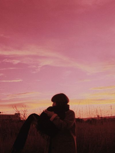 Sunset Women Multi Colored Silhouette Sky Romantic Sky Moody Sky Storm Cloud Calm Countryside Tranquil Scene Atmospheric Mood Magenta Scenics Dramatic Landscape Dramatic Sky Tranquility