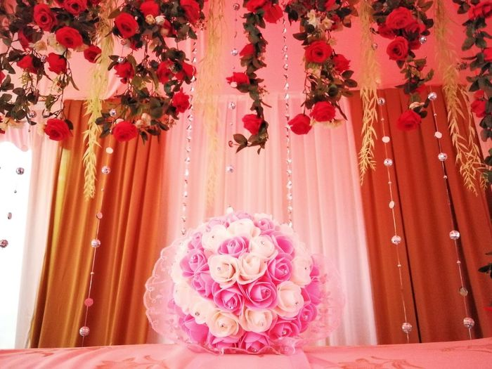 Flower Pink Color Rose - Flower Curtain No People Indoors  Luxury Red Day Flower Head Wedding