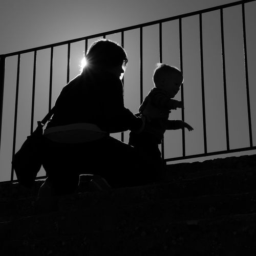 Mum And Son Mum And Child Black And White Two People Silhouette Outdoors Day