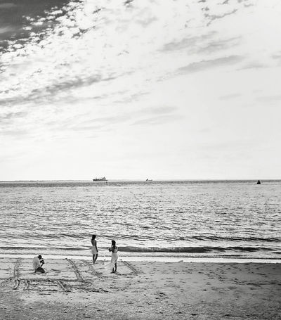 Water Beach Sea Caught In The Moment Horizon Over Water Tranquility Tranquil Scene Sand Unknown Gender Solitude Nature Ocean Sky Calm Scenics Idyllic Black And White Caught The Moment Non-urban Scene Outdoors The Week Of Eyeem Getting Inspired Hello World From My Point Of View Taking Photos