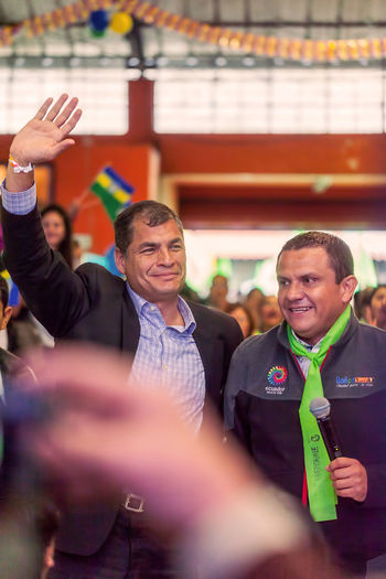 Banos De Agua Santa, Ecuador - 23 June, 2016: Rafael Correa, President Of Ecuador With Mayer Of Banos De Agua Santa, Marlon Guevara, Ecuador, South America Adult Adults Only Day Devotion Elections Freedom Group Of People Happiness Indoors  Man Manifestation Marlon Guevara Mature Adult Mature Men Mayor Men Only Men People People Watching President Rafael Correa Senior Adult Senior Men Smiling South America