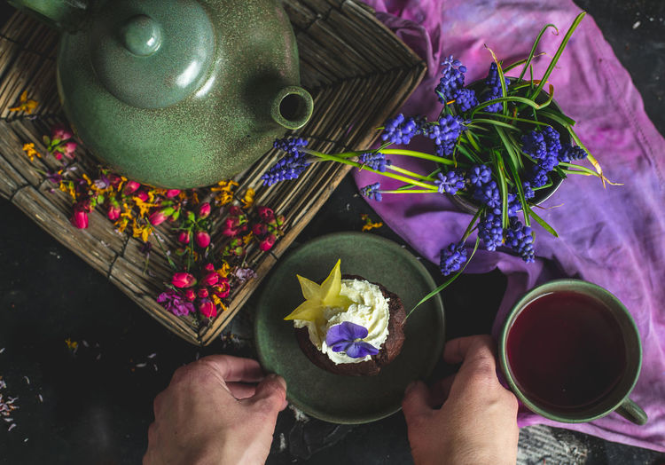 romantic, sweet time with sweet choco muffin and fruit tea Food Photography Hand Tea Muffin Cupcake Fruit Tea Serving Size Serving Eating Food Snack Food Diet Healthy Lifestyle Healthy Eating Breakfast Colorful Calories Lunch Essen Home Spring Time Flowers Table Top View Top View Of Food The Foodie - 2019 EyeEm Awards