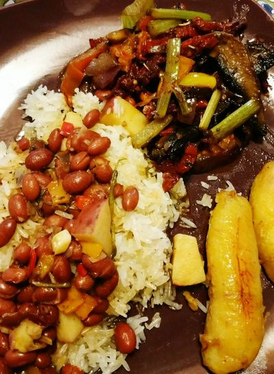 Rice, Beans, Golden Plantain And Vegetables