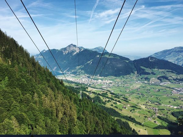 Mountain Sky Scenics - Nature Beauty In Nature Tranquil Scene Nature Green Color Mountain Range Tranquility Landscape Plant Cable No People Day Cloud - Sky Environment Cable Car Growth Land