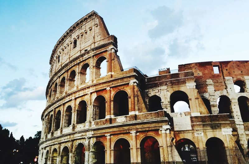 History Arch Architecture Built Structure Sky The Past Old Ruin Low Angle View Ancient Travel Destinations Cloud - Sky Tourism Ancient Civilization Building Exterior Day Travel Outdoors No People Colosseum Rome Italy