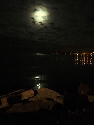 Sea And Sky Waterreflections  Moonlight Nightphotography