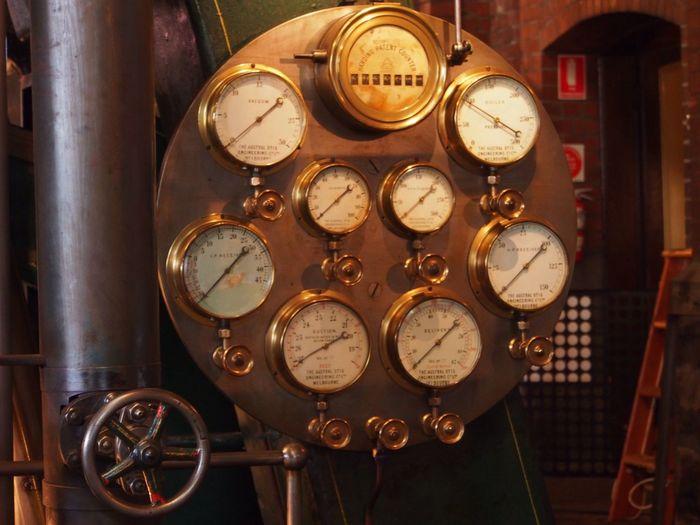 Close-up of vintage gauges